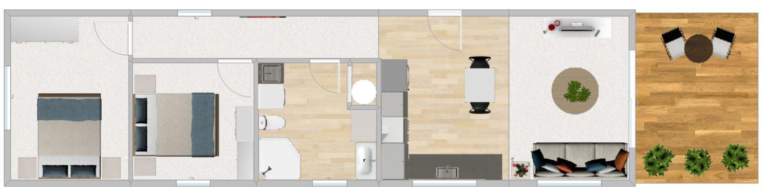 FirstBuild Couple 60 2 bedrooms 1 bathroom 1 level