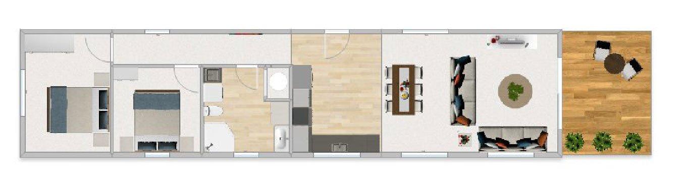 FirstBuild Couple 73 2 bedrooms 1 bathroom 1 level